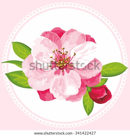 Vector Japanese flowering cherry can be used for women's textile, wedding invitation, mother's day, romantic texture, kitchen tiles