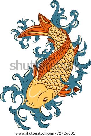 vector japanese style koi  (carp fish), hand drawn