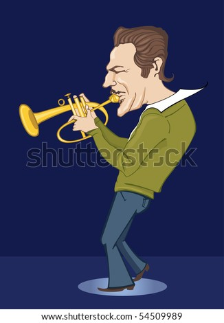 vector jazzman in blue - stock vector