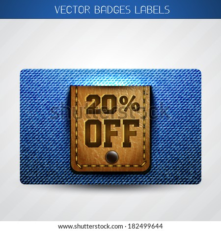 vector jeans and leather discount label - stock vector
