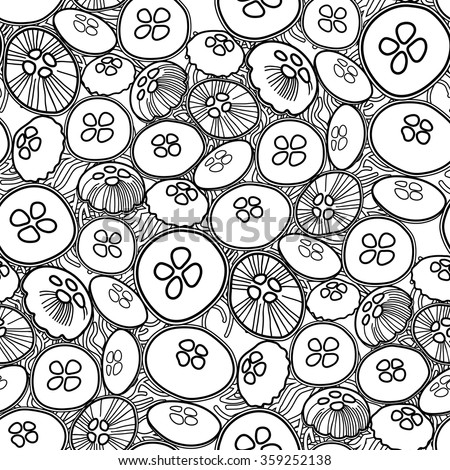 Vector jellyfish seamless pattern drawn in line art style. Ocean fauna in black and white colors. Coloring book page design for adults and kids - stock vector