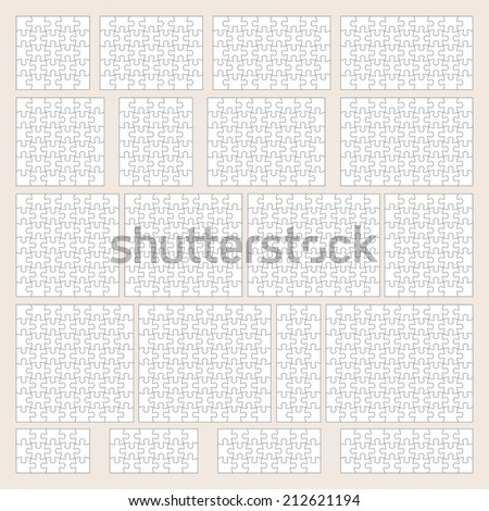 Vector jigsaw puzzle patterns set - stock vector
