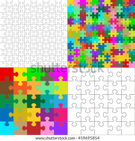 Vector JigSaw Puzzle Pieces Collection Arranged in a Square - Black and White and Colorful Set