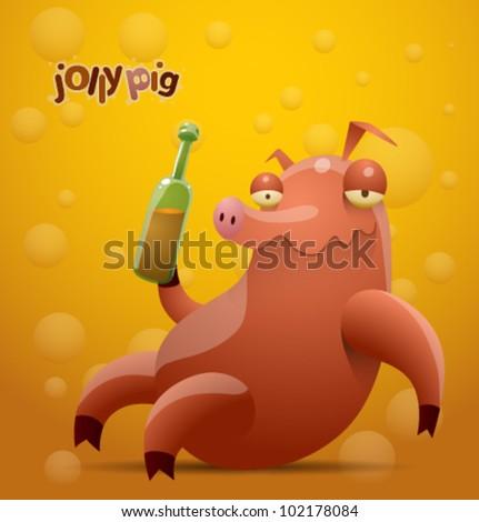 vector jolly pig 3 - stock vector