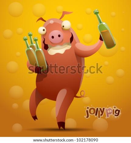 vector jolly pig 5 - stock vector