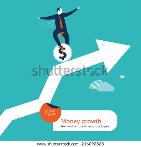 Vector juggler with unicycle on a chart. Vector illustration Eps10 file. Global colors. Text and Texture in separate layers. - stock vector