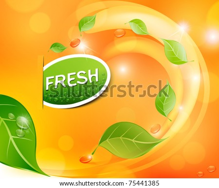 Vector juicy, fresh background with leaves and drops - stock vector