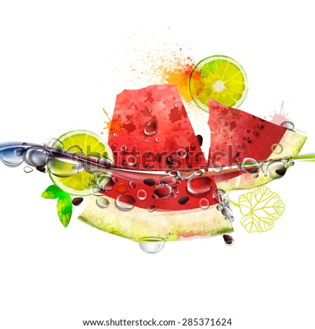 Vector juicy fruits in water, watermelon, lime, splashing water with bubbles, rich bright colors, watercolor - stock vector