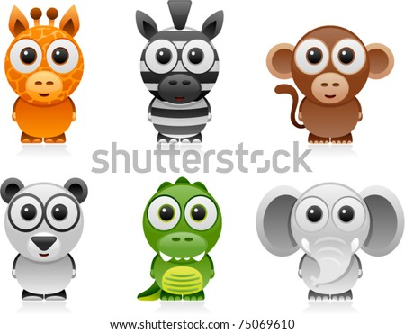 vector jungle animals cartoon set 1 - stock vector
