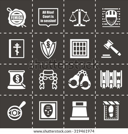 Vector Justice icon set on black background