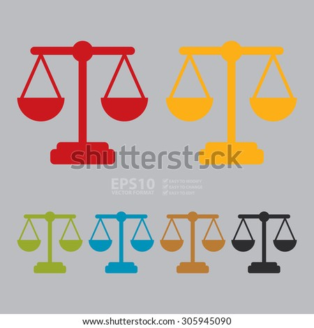 Vector : Justice Scales Infographics Flat Icon, Sign - stock vector