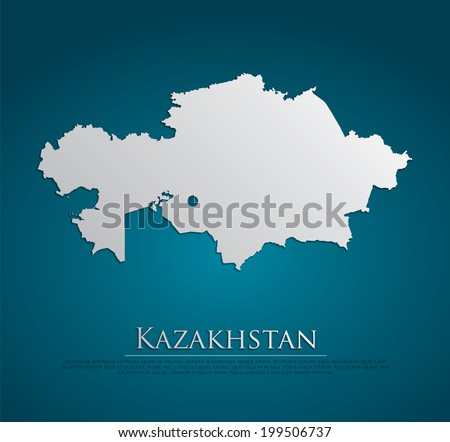 vector Kazakhstan Map card paper on blue background, high detailed