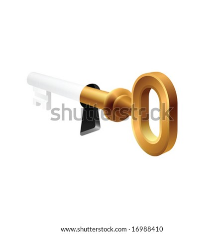 Vector key in keyhole - stock vector