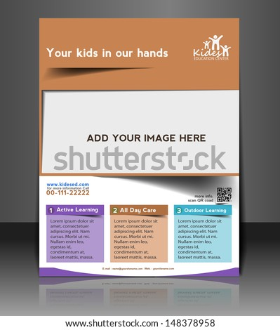 Vector Kids Care Flyer, Magazine Cover & Poster Template  - stock vector