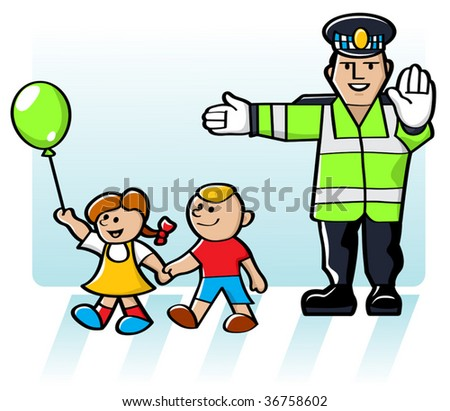 Vector Kids Crossing The Road In Safety - stock vector