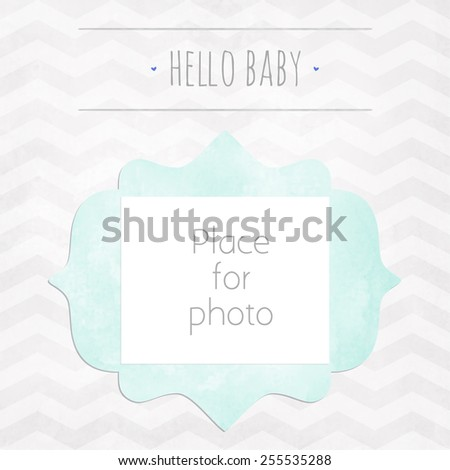 Vector kids page photo frame for album scrapbooking. Design template with gray watercolor background with zigzag pattern - stock vector