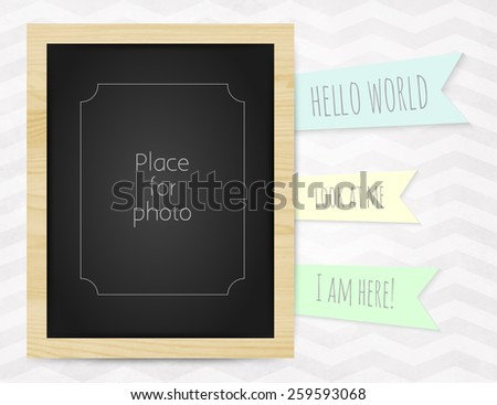 Vector kids page photo wood frame for album scrapbooking. Design template with gray watercolor background with zigzag pattern and Hello world - stock vector