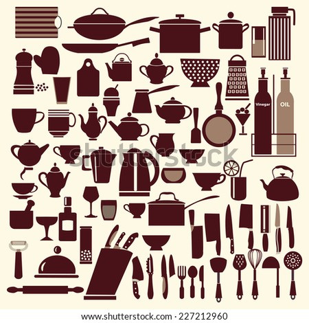 vector kitchen and restaurant icon kitchenware set