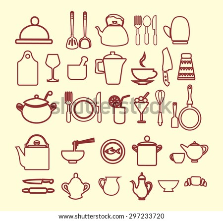 Restaurant Kitchenware kitchenware department stock vectors, images & vector art