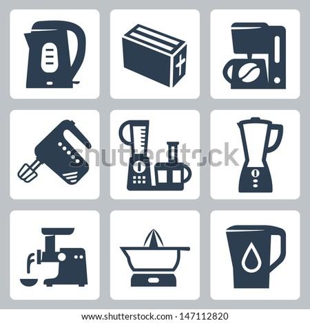 Vector kitchen appliances icons set - stock vector