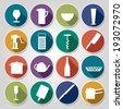 vector kitchen circle icons - stock vector