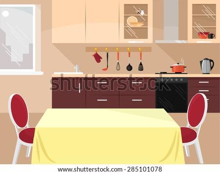 Vector kitchen flat illustration - stock vector