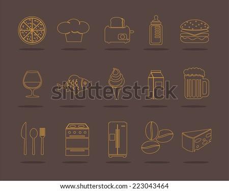 Vector kitchen icons set - stock vector