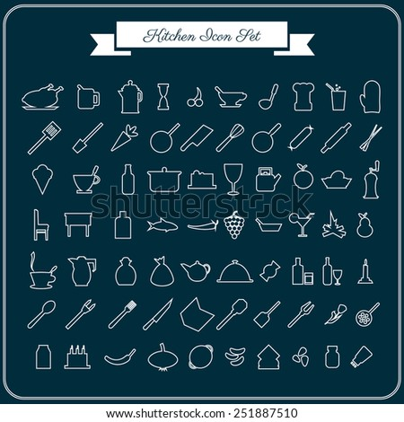Vector 70 kitchen icons set for web in flat design on a dark blue background - stock vector
