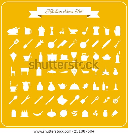 Vector 70 kitchen icons set for web in flat design on a yellow background - stock vector