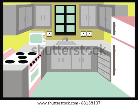 Kitchen With Backround Fridge And Cabinets