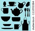 Vector kitchen utensils - stock vector