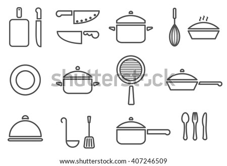 Vector kitchenware line icon set cookware trendy design