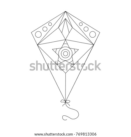 Vector Kite Outline Illustration Coloring Book Stock Vector ...