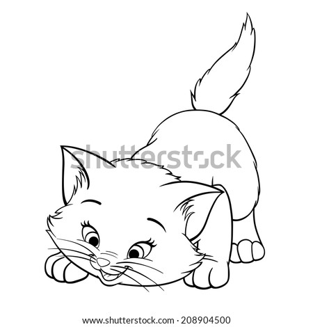 Vector kitten playing cartoon cute happy white cat smiling character cat line art coloring book black and white drawing illustration - stock vector