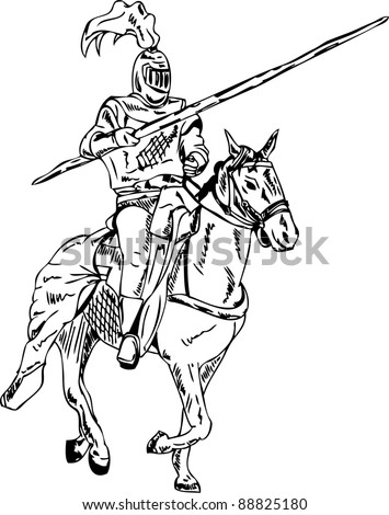Medieval Knight On Horse Drawing Vector - knight on horse