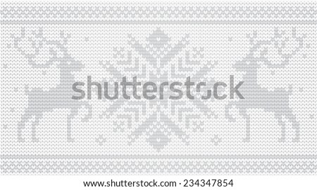 Vector knitted ornament with deers / White - stock vector