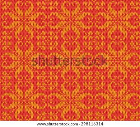 vector knitting seamless background: christmas ornament - stock vector