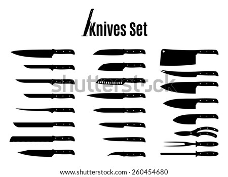 Vector Knives Set Isolated on White - stock vector