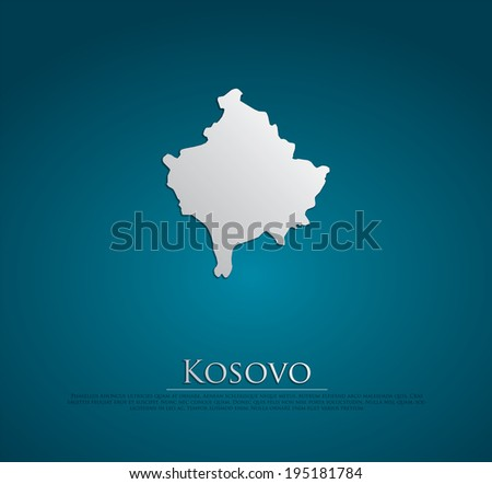 vector Kosovo Map card paper on blue background, high detailed - stock vector