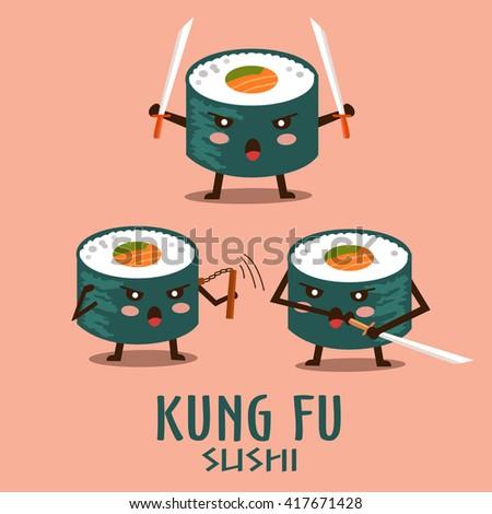 Vector kung fu sushi characters illustration set. - stock vector