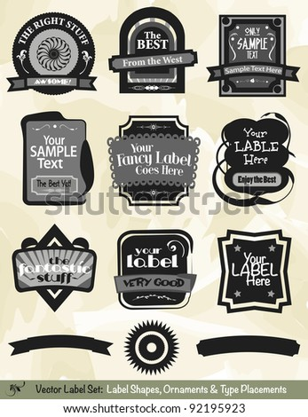 Vector Label Kit:  Label designs, ornaments, and suggested type placements ready to style. - stock vector