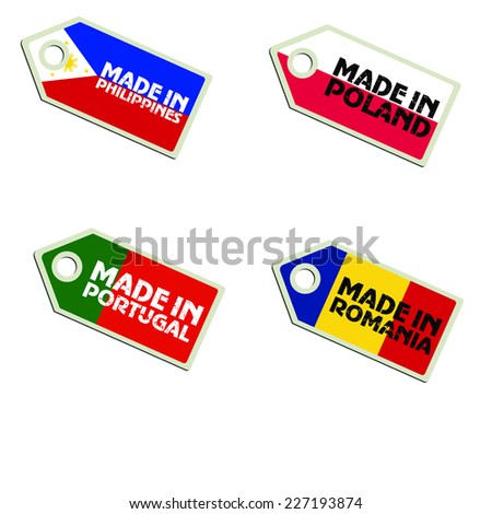 vector label Made in Philippines, Poland, Portugal, Romania,  - stock vector