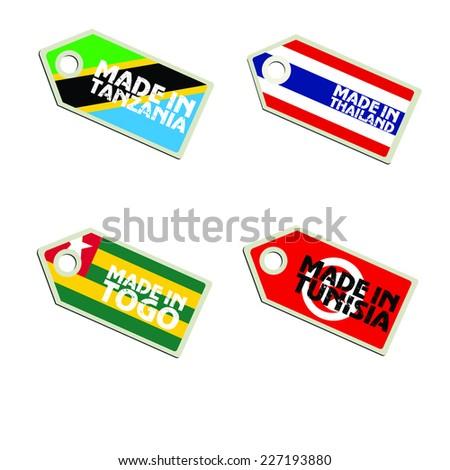 vector label Made in Tanzania, Thailand, Togo, Tunisia,  - stock vector