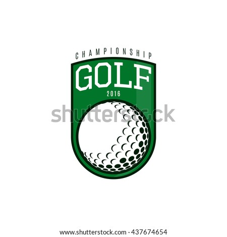 Vector label of golf. Logo of golf championship. Vector illustration. - stock vector
