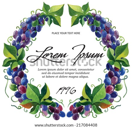 Vector label template for wine grape branches with watercolor - stock vector