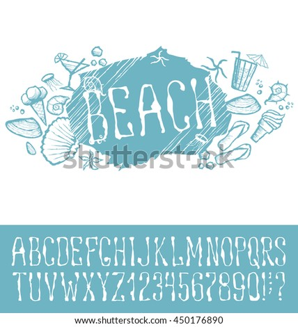 Vector label with hand made font. With inscription Beach - stock vector