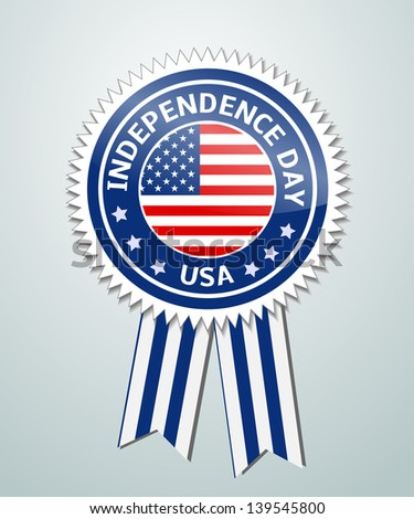 Vector label with ribbons of independence day USA - stock vector