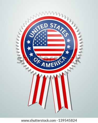 Vector label with ribbons of USA