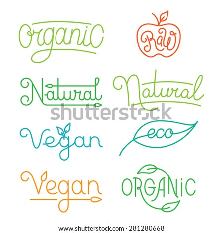 Vector labels and logos in trendy mono line style - premium quality organic and natural badges for fresh farm products and food packaging - set of linear emblems and icons - stock vector