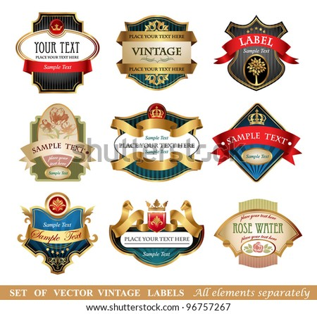 Vector labels, 9 different styles - stock vector